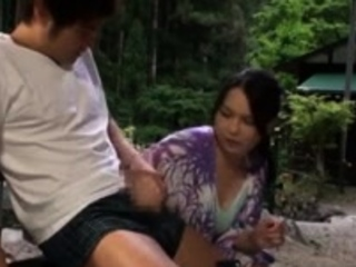 Asian honeys outdoor handjob