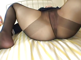 Asian respecting pantyhose..